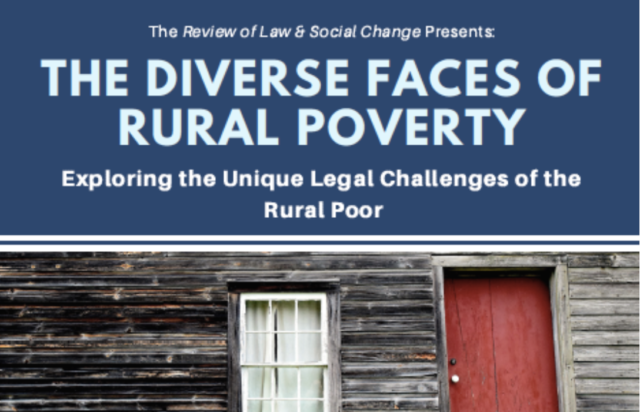 Spring 2018 Colloquium: The Diverse Faces of Rural Poverty: Exploring the Unique Legal Challenges of the Rural Poor