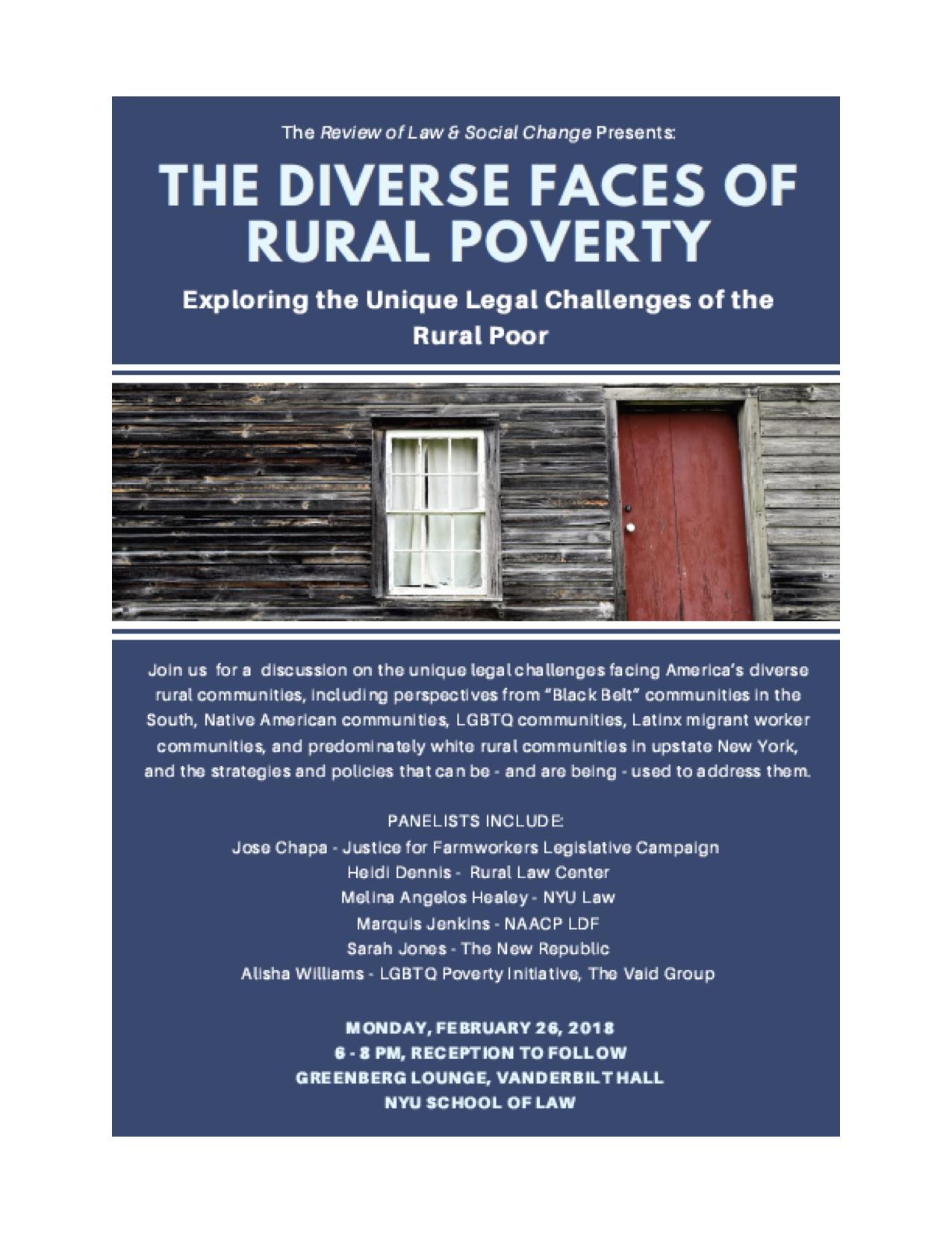 Spring 2018 Colloquium: The Diverse Faces of Rural Poverty