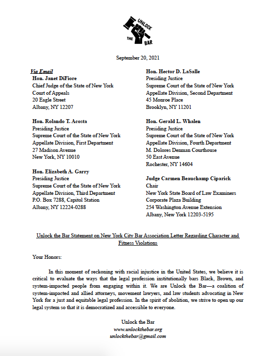 The first page of the Unlock the Bar Letter.